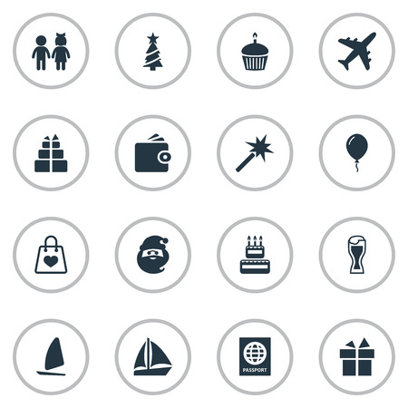 Vector Illustration Set Of Simple Festal Icons. Elements Spell, Father Frost, New Year Symbol And Other Synonyms Santa, Beer And Mug.