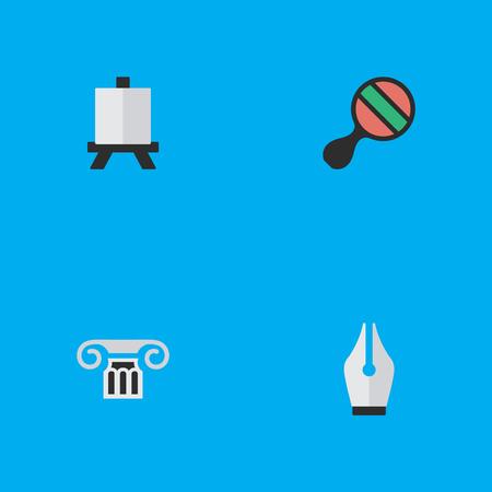 単純な知識アイコンのベクター イラスト セット。要素列、イーゼル、ペン先、他の同義語ピンポン インクとペン先。