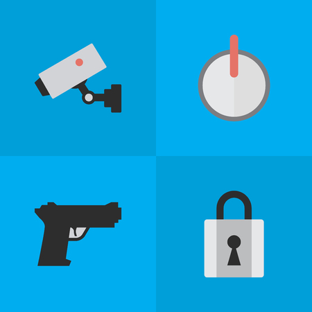 Vector Illustration Set Of Simple Crime Icons. Elements Weapon, Safe, Closed And Other Synonyms Password, Padlock And Weapon. Illustration