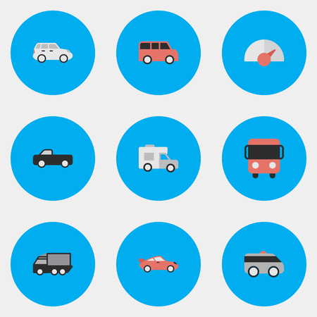 Vector Illustration Set Of Simple Traffic Icons. Elements Lorry, Autobus, Coupe And Other Synonyms Bus, Truck And Pickup.