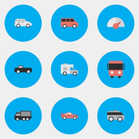 Vectorillustratiereeks Eenvoudige Verkeerspictogrammen. Elementen: vrachtwagen, autobus, coupé en andere synoniemenbus, vrachtwagen en pick-up.