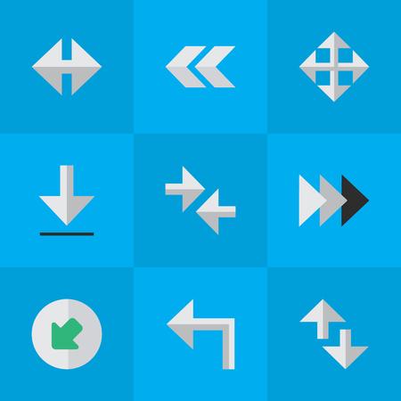 벡터 일러스트 레이 션 간단한 표시기 아이콘의 집합입니다. 요소 뒤로, 내보내기, 표시기 및 기타 동의어 후면, 확대 및 뒤로. 스톡 콘텐츠 - 83746789