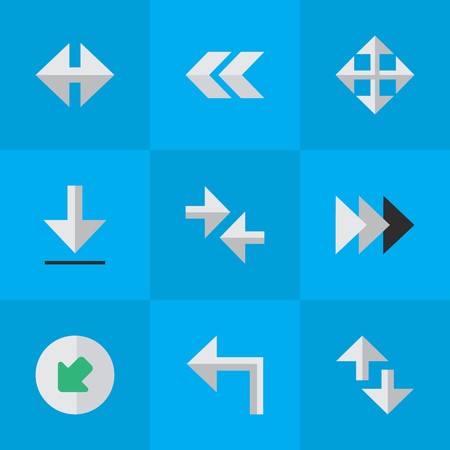 Vector Illustration Set Of Simple Indicator Icons. Elements Back, Export, Indicator And Other Synonyms Rearward, Enlarge And Back. Çizim