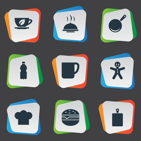 シンプルな料理のアイコンのベクトル イラスト セット。Elements レストラン, サンドイッチ, チーフ クック類義語ボトル、まな板とシェフ。