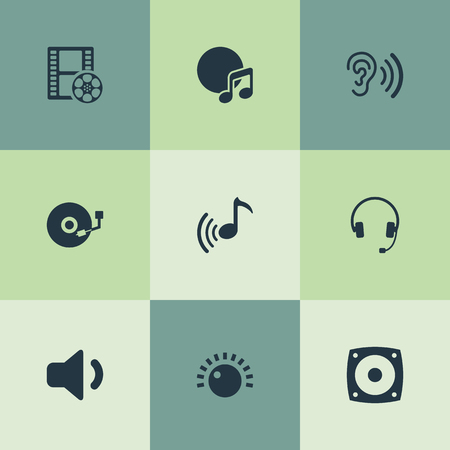 Vector Illustration Set Of Simple  Icons. Elements Subwoofer, Cinema, Music And Other Synonyms Music, Audio And Headset.