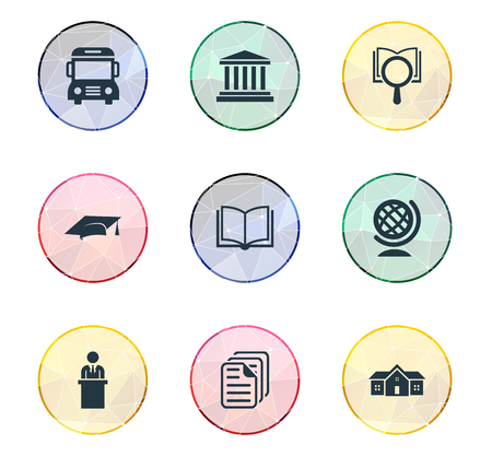 master: Vector Illustration Set Of Simple Education Icons. Elements Courthouse, Magnifier, Cap And Other Synonyms Research, Page And Lecture.
