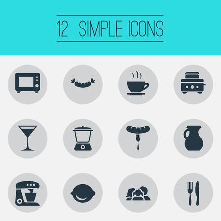 Vector Illustration Set Of Simple Kitchen Icons. Elements Utencil, Domestic, Clay And Other Synonyms Bread, Aperitif And Vase. Illustration