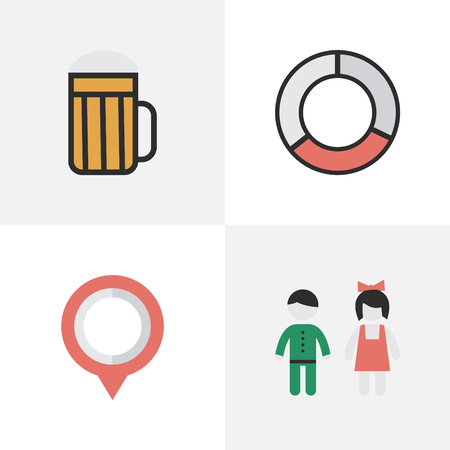 Vector Illustration Set Of Simple Vacation Icons. Elements Pair, Mark, Pub And Other Synonyms Pin, Couple And Sea.