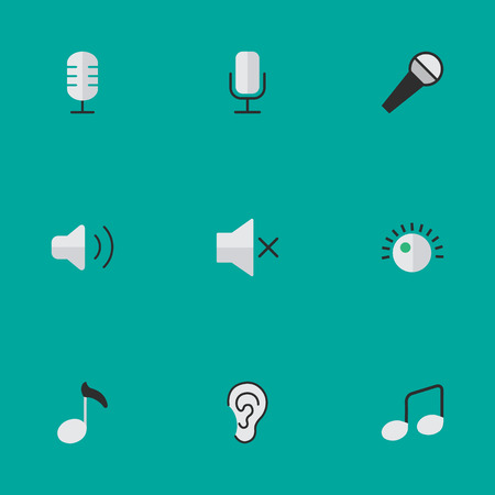 Vector Illustration Set Of Simple Sound Icons. Elements Regulator, Note, Record And Other Synonyms Listen, Record And Microphone.