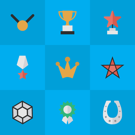 Vector Illustration Set Of Simple Champion Icons. Elements Corona, Reward, Metal And Other Synonyms Award, Shoe And Gold. Illustration