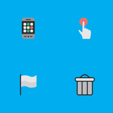Elements Trashcan, Switch Knob, Flag And Other Synonyms Trash, Pointer And Smartphone.  Vector Illustration Set Of Simple Menu Icons. Stok Fotoğraf - 83746475