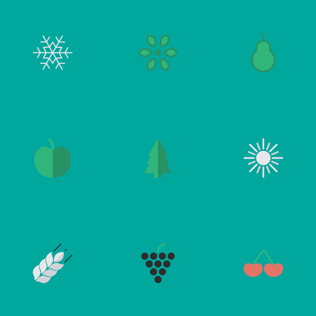 Vector Illustration Set Of Simple Garden Icons. Elements Berry, Sun, Tree And Other Synonyms Wine, Sunny And Snowflake. Illustration