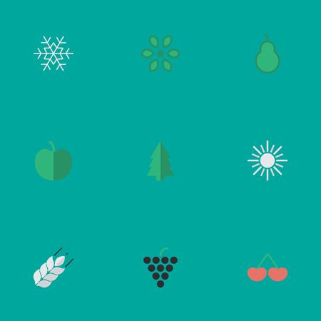 Vektor-Illustrations-Satz einfache Garten-Ikonen. Elements Berry, Sun, Tree und andere Synonyme Wein, Sunny And Snowflake. Standard-Bild - 83746547