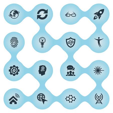 Vectorillustratiereeks Eenvoudige Creativiteitpictogrammen. Elements Missile, Broadcast, Shield And Other Synoniemen System, Choose And Hi-Tech. Stock Illustratie