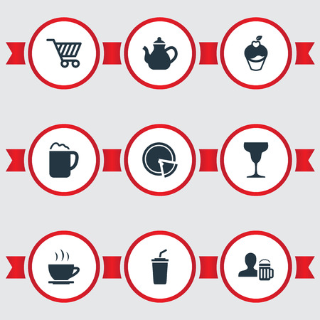 Elements Pepperoni, Pub, Smoothie And Other Synonyms Pub, Milkshake And Dessert.  Vector Illustration Set Of Simple Beverage Icons. Çizim