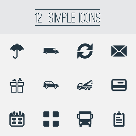 Elements Online Transaction, Repeatability, Autobus And Other Synonyms Evacuator, Bus And Car.  Vector Illustration Set Of Simple Delivery Icons.