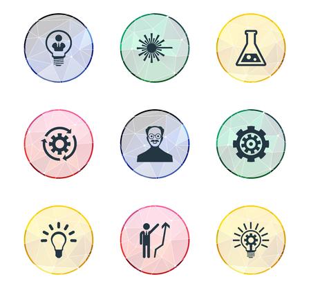 Vector Illustratie Set Van Eenvoudige Innovatie Pictogrammen. Elements Flask, Scholar, Bulb En Andere Synoniemen Herladen, Helder En Verwerking.