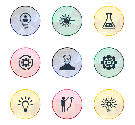 Vector Illustration Set Of Simple Innovation Icons. Elements Flask, Scholar, Bulb And Other Synonyms Reload, Bright And Processing.