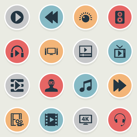 Elements Loudspeaker, Ultra Display, 3D Glasses And Other Synonyms Playlist, Note And Direction.  Vector Illustration Set Of Simple Multimedia Icons.