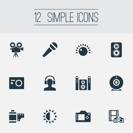 Vector Illustration Set Of Simple Multi Icons. Elements Photo Apparatus, Negative Roll, Home Theater And Other Synonyms Headphone, Brightness And Cam. Ilustração