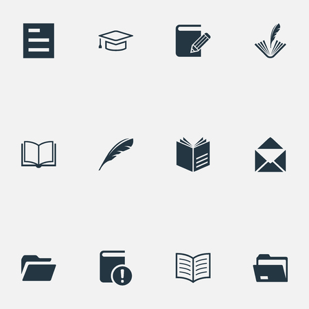 Elements Studying, Poetry, Folder And Other Synonyms File, Diary And Document.  Vector Illustration Set Of Simple Knowledge Icons.