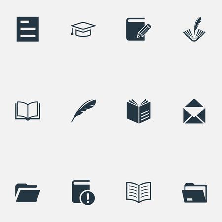 Léments d'étude, poésie, dossier et autres fichiers de synonymes, journal intime et document. Illustration vectorielle définie des icônes de connaissances simples. Banque d'images - 83746556