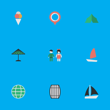Elements World, Parasol, Schooner And Other Synonyms Ship, Sailboat And Schooner.  Vector Illustration Set Of Simple Travel Icons.