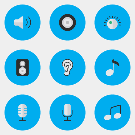 loudness: Elements Loudness, Record, Loudspeaker And Other Synonyms Loudspeaker, Volume And Sign.  Vector Illustration Set Of Simple  Icons. Illustration
