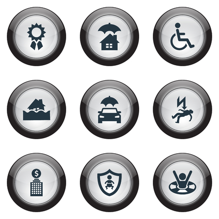 Elements Drowning Man, Kid, Building And Other Synonyms Protect, Medal And Award.  Vector Illustration Set Of Simple Safeguard Icons.