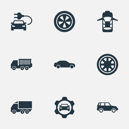Elements Carriage, Car Charging, Duplicates And Other Synonyms Nut, Lattice And Circle.  Vector Illustration Set Of Simple Auto Icons. Illustration