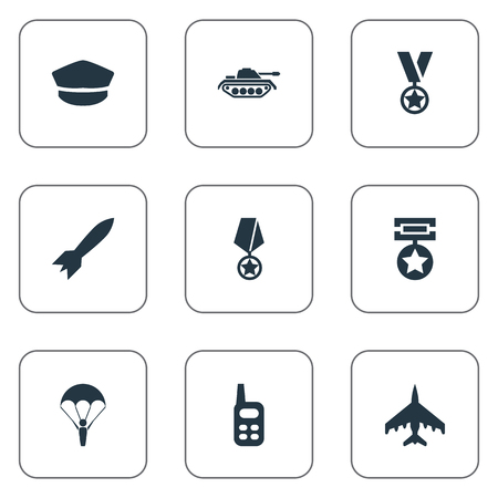 Elements Premium, Walkie-Talkie, Tank And Other Synonyms Reward, Ratio And Order.  Vector Illustration Set Of Simple War Icons.
