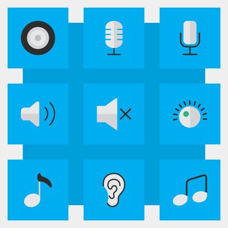単純な音楽アイコンのベクター イラスト セット。要素音楽記号、ボリューム、スピーカーおよび他の類義語を聞くと音楽。