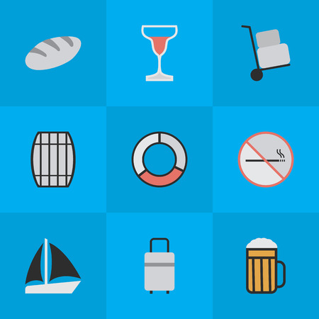 Vector Illustration Set Of Simple Relax Icons. Elements Wine, Cask, Schooner And Other Synonyms Pub, Boat And Cocktail. Ilustração