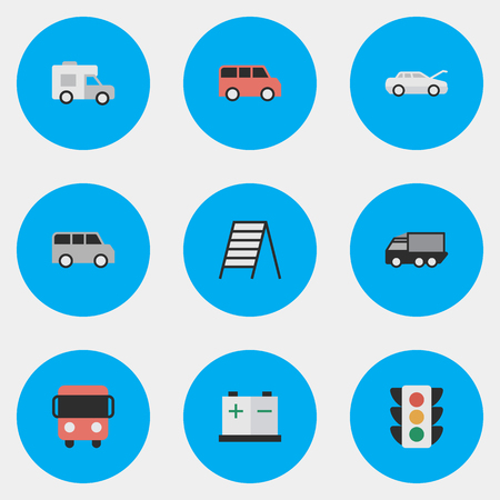 Vector Illustration Set Of Simple Transportation Icons. Elements Autobus, Family, Minibus And Other Synonyms Lorry, Charge And Stairway.