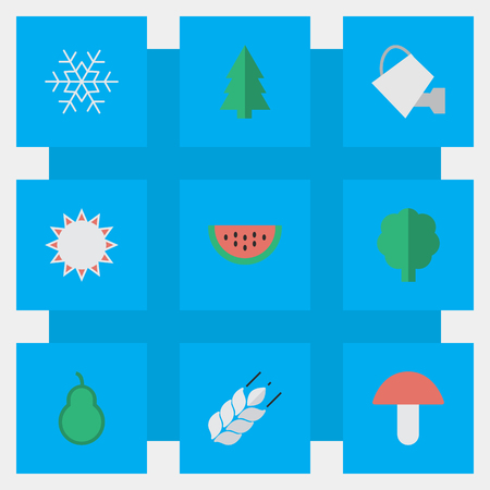 Vector Illustration Set Of Simple Horticulture Icons. Elements Punching Bag, Flake Of Snow, Melon And Other Synonyms Snow, Snowflake And Sun. Illustration