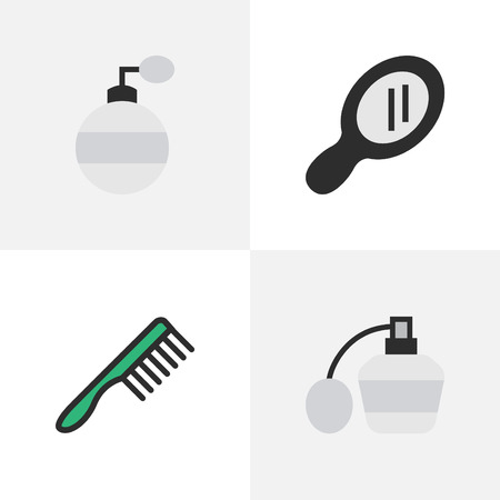 Vector Illustration Set Of Simple Barber Icons. Elements Glass, Hairbrush, Fragrance And Other Synonyms Glass, Tool And Speculum. Banco de Imagens - 83747421