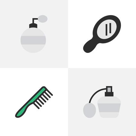 Vectorillustratiereeks Eenvoudige Kapperpictogrammen. Elements Glass, Hairbrush, Fragrance And Other Synoniemen Glass, Tool And Speculum.