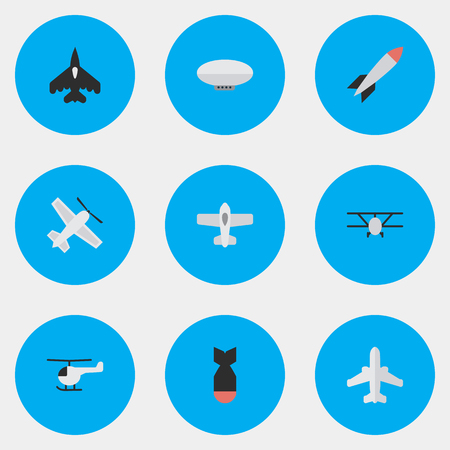Vector Illustration Set Of Simple Plane Icons. Elements Plane, Airliner, Bomb And Other Synonyms Chopper, Airship And Balloons.