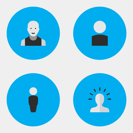 Vector Illustration Set Of Simple Person Icons. Elements Man, Contour, Person And Other Synonyms Person, Boy And Section. Illustration