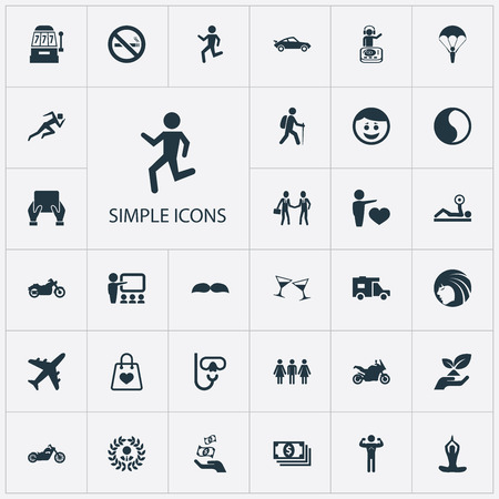 Vector Illustration Set Of Simple Health Icons. Elements Currency, Victory, Casino And Other Synonyms Sport, Backpacker And Person.