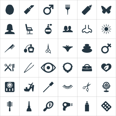 Vector Illustration Set Of Simple Beauty Icons. Elements Sunroom, Rouge, Gel And Other Synonyms Hairdresser, Nose And Man.