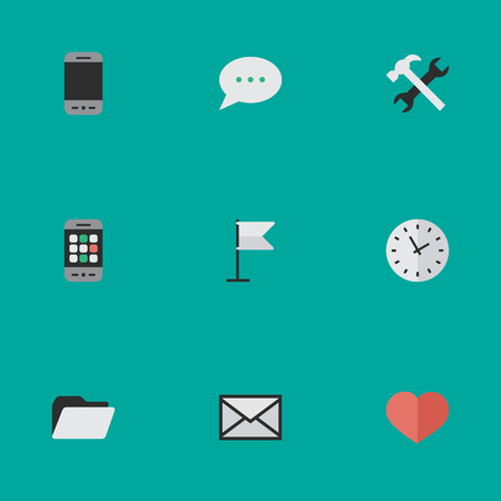 Vector Illustration Set Of Simple Menu Icons. Elements Banner, Tools, Mobile Phone And Other Synonyms Folder, Archive And Love. Illustration