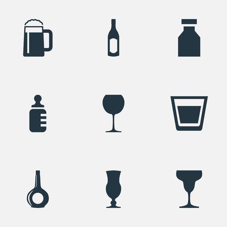 Elementen Cup, fles, antibioticum en andere synoniemen Container, alcohol en cocktail. Stock Illustratie