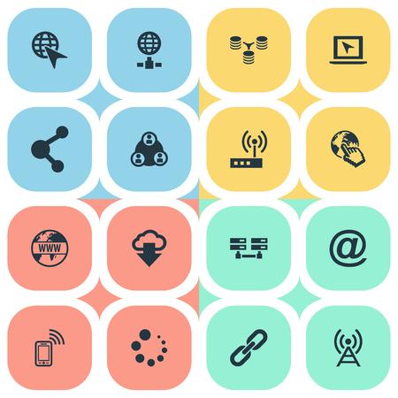 要素チェーン、サーバーの関係、アンテナ、その他類義語グループ、アンテナ、電話。  イラスト・ベクター素材