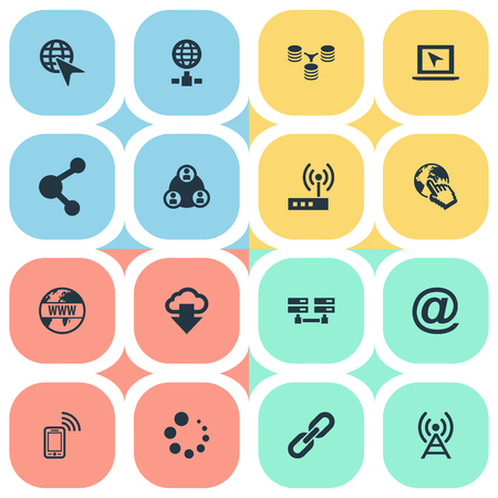 Elements Chain, Server Relationship, Antenna And Other Synonyms Group, Antenna And Phone. Illustration