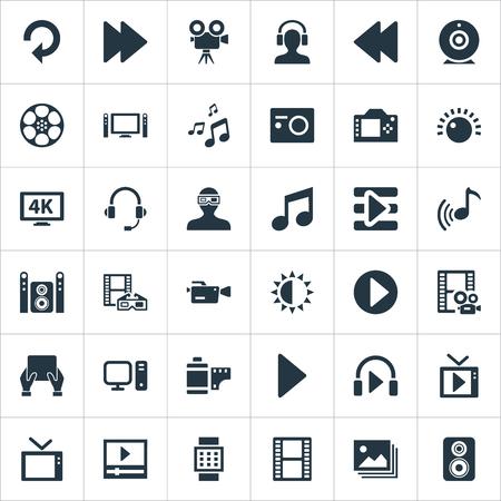 Elementen televisie, afspeellijst, helderheid en andere synoniemenfilms, projector en display. Stock Illustratie