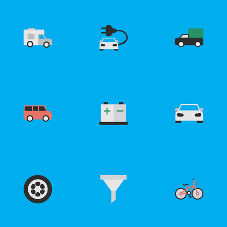 Vector Illustration Set Of Simple Shipping Icons. Elements Family, Sport, Pickup And Other Synonyms Percolator, Cycle And Car.