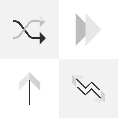 앞으로, 위로, Chaotically 그리고 다른 동의어 다음, 위로 그리고 위로. 벡터 일러스트 레이 션 간단한 화살표 아이콘의 집합입니다.