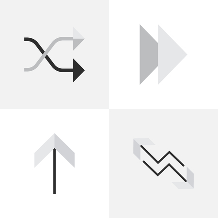 Elements Forward, Up, Chaotically And Other Synonyms Next, Up And Upward.  Vector Illustration Set Of Simple Arrows Icons.