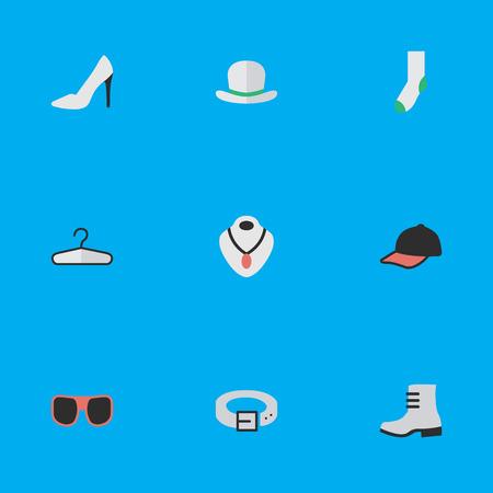 요소 양말, 보석, 스트랩 및 기타 동의어 착용, 옷걸이 및 스트랩. 벡터 일러스트 레이 션 간단한 장비 아이콘의 집합입니다. 일러스트